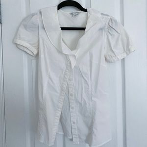 White button down with ruffle neck